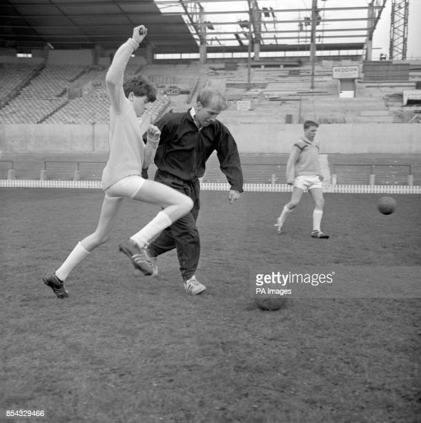 Glenn Slowther of Bradford challenges Manchester United's Bobby Charlton for the ball at Old Trafford He is one of the schoolchildren from across the...