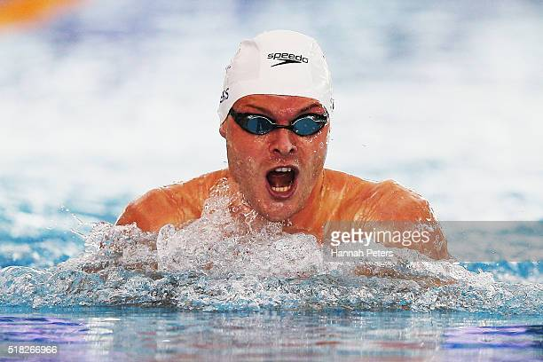 Glenn Snyders of North Shore competes in the Men's 100m Breaststroke heat during the 2016 NZ Open Championships at Sir Owen G Glenn National Aquatic...