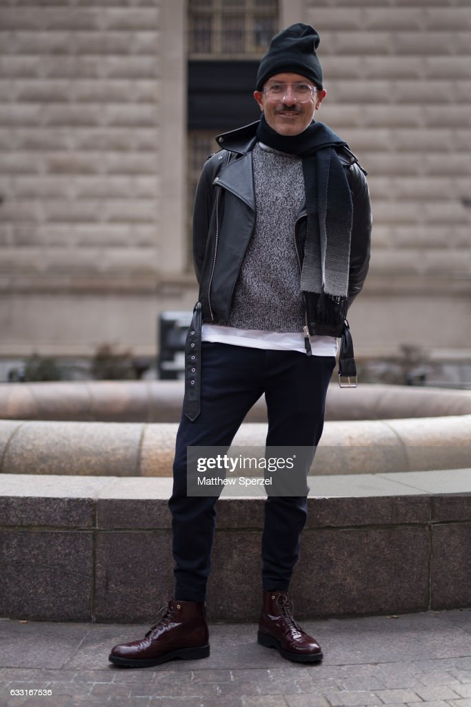 Glenn Sofinowski is seen attending NYFW Men's Day at Dune Studios wearing Lunettes Kollection glasses, Jean Paul Gaultier COS coat, and Want Les Essentiels shoes on January 30, 2017 in New York City.