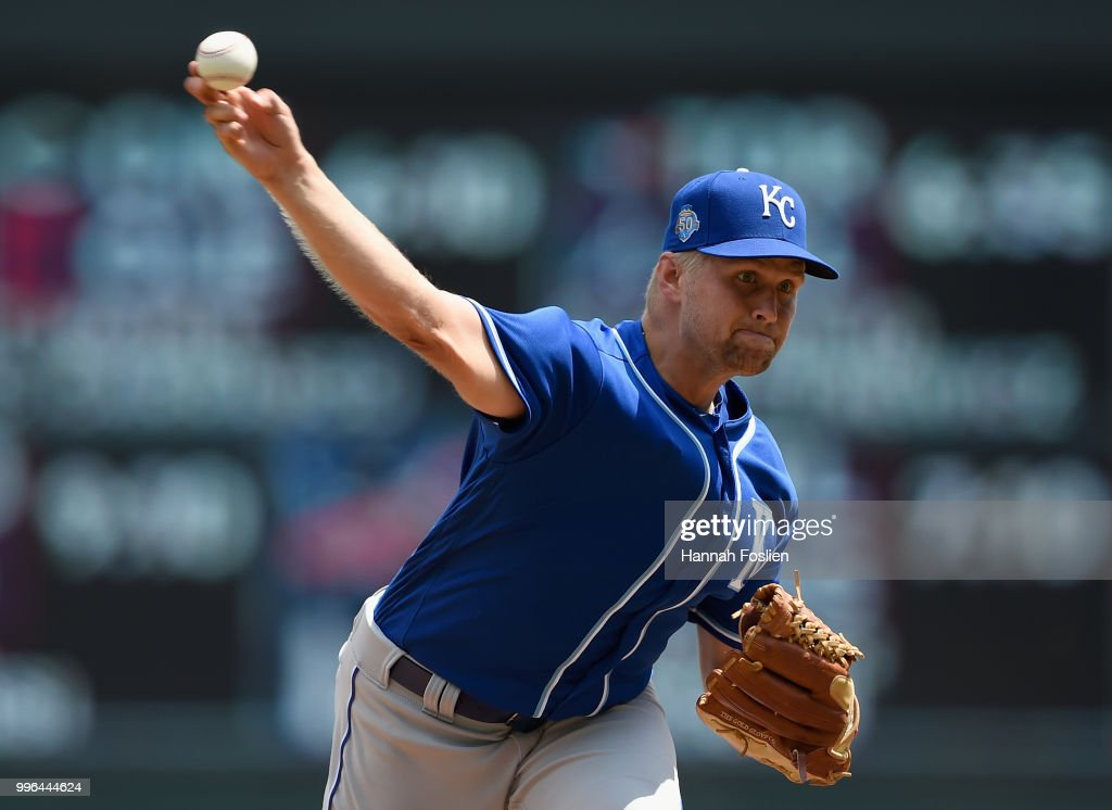 Glenn Sparkman #57 of the Kansas City Royals delivers a pitch against the Minnesota Twins during the fourth inning of the game on July 11, 2018 at Target Field in Minneapolis, Minnesota. The Twins defeated the Royals 8-5.