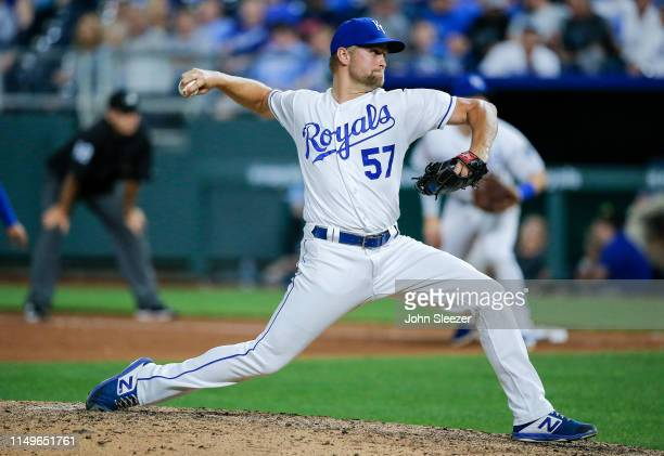Glenn Sparkman of the Kansas City Royals pitches in the seventh inning during the game against the Texas Rangers at Kauffman Stadium on May 15 2019...