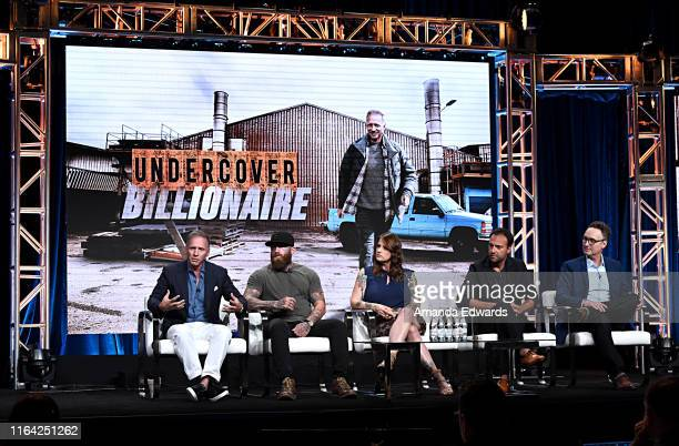 Glenn Stearns RJ Messenger Dawn Van Scoter executive producer Aengus James and showrunner executive producer Tim Warren of 'Undercover Billionaire'...