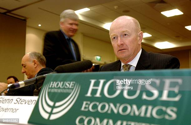 Glenn Stevens, governor of the Reserve Bank of Australia, answers questions during a bi-annual parlimentary committee meeting in Broadbeach,...