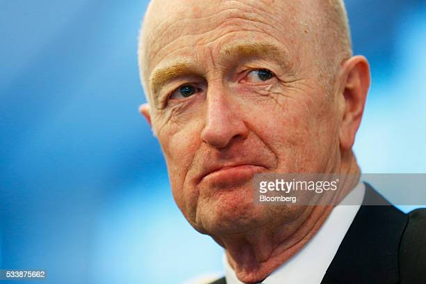 Glenn Stevens governor of the Reserve Bank of Australia listens during an event hosted by the TransTasman Business Circle in Sydney Australia on...