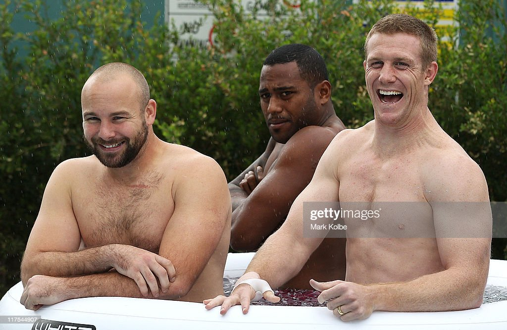 Glenn Stewart, Akuila Uate and Ben Creagh share a laugh during a New South Wales Blues training session at Coogee Oval on June 28, 2011 in Sydney, Australia.