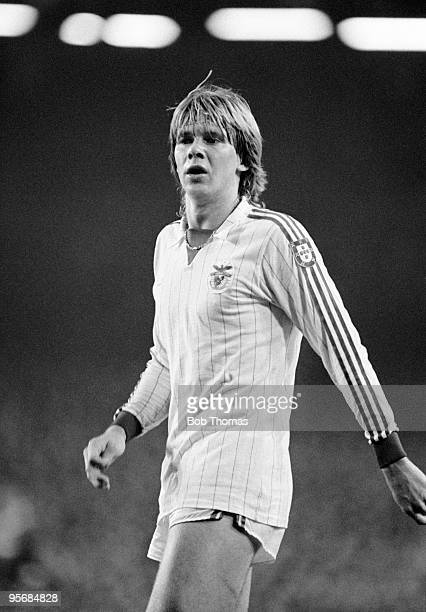 Glenn Stromberg of Benfica during the Liverpool v Benfica European Cup Quarter Final 1st leg match played at Anfield Liverpool on the 7th March 1984...