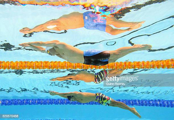 Glenn Sutanto of Indonesia and Jayden Hadler of Australia compete in the Men's 100 Metre Butterfly during day six of the 2016 Australian Swimming...