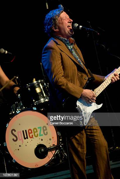 Glenn Tilbrook of Squeeze performs on stage at Ravinia on July 10, 2010 in Highland Park, Illinois.