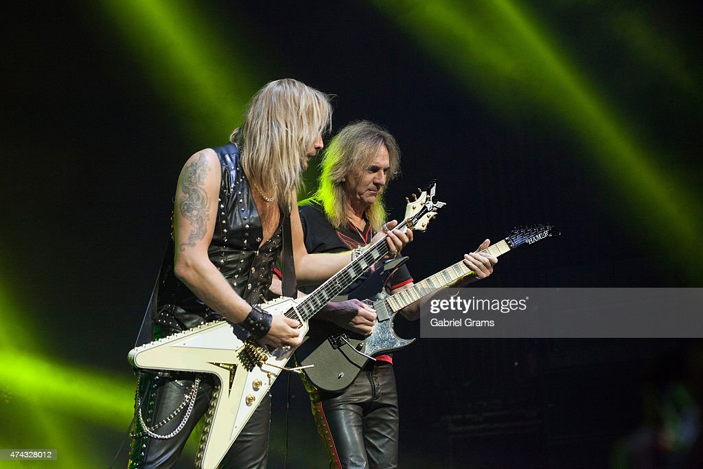 Glenn Tipton (R) and Richie Faulkner of Judas Priest perform in concert at Rosemont Theatre on May 21, 2015 in Chicago, Illinois.