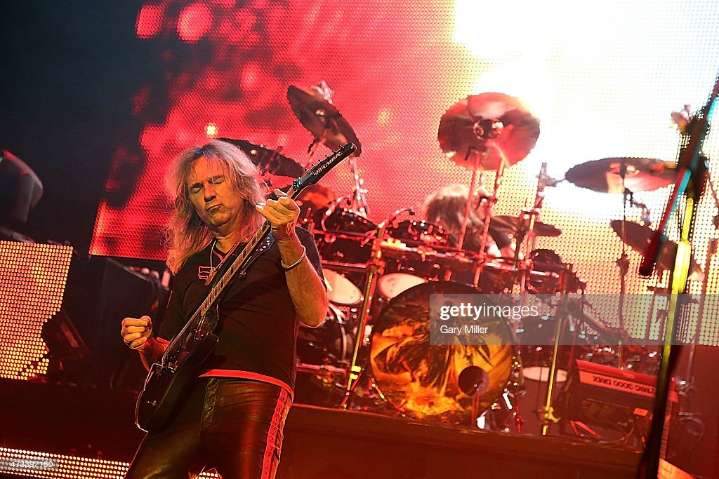 Glenn Tipton (L) and Scott Travis of Judas Priest perform in concert at the Cedar Park Center on May 14, 2015 in Cedar Park, Texas.