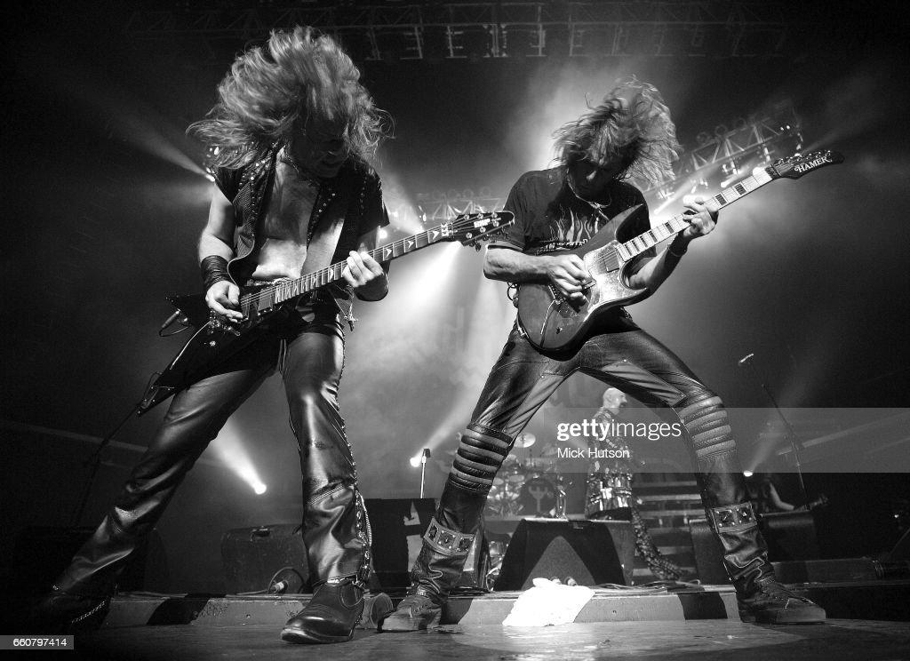 Glenn Tipton, Rob Halford, Ian Hill of Judas Priest, Birmingham, 8th August 2004.