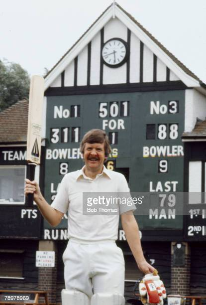 Glenn Turner Worcestershire batsman in front of the scoreboard having scored 311 runs in the County Championship against Warwickshire on 29th May...