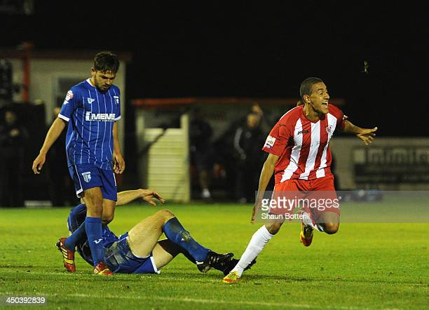 Glenn Walker of Brackley Town celebrates after scoringduring the FA Cup First Round Replay match between Brackley Town and Gillingham at St James...