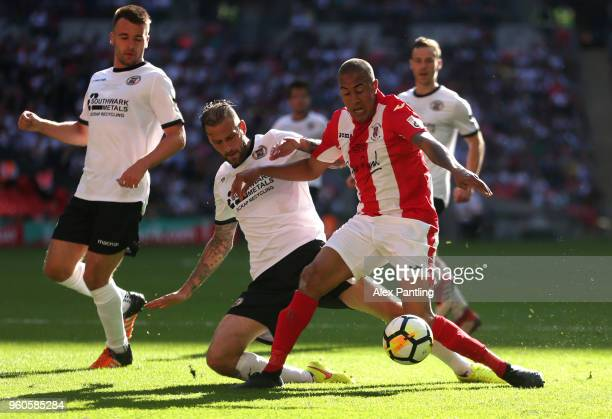 Glenn Walker of Brackley Town holds off Roger Johnson of Bromley during the Buildbase FA Trophy Final between Brackley Town and Bromley FC at Wembley...