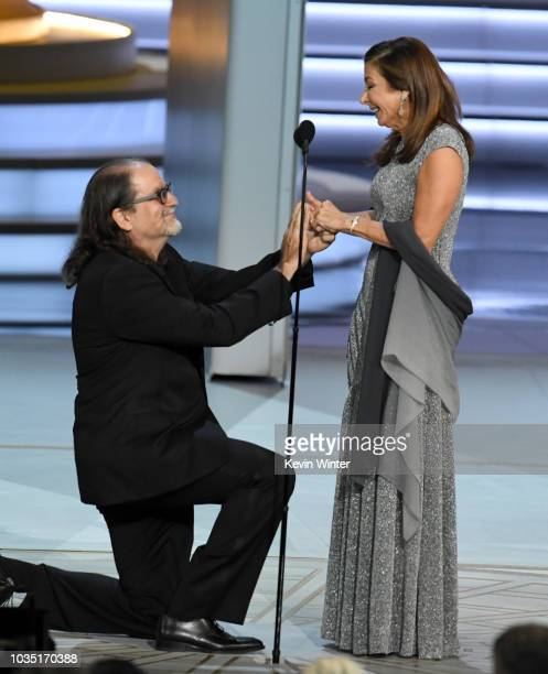 Glenn Weiss winner of the Outstanding Directing for a Variety Special award for 'The Oscars' proposes marriage to Jan Svendsen onstage during the...