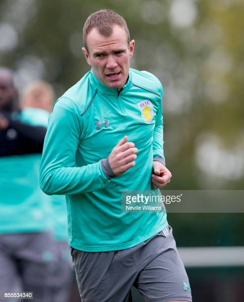 Glenn Whelan of Aston Villa in action during a Aston Villa training session at the club's training ground at Bodymoor Heath on September 29 2017 in...