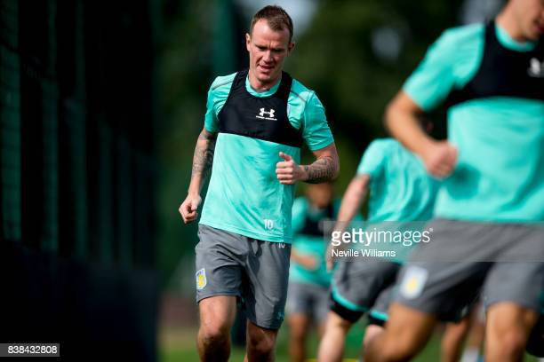 Glenn Whelan of Aston Villa in action during a training session at the club's training ground at Bodymoor Heath on August 24 2017 in Birmingham...