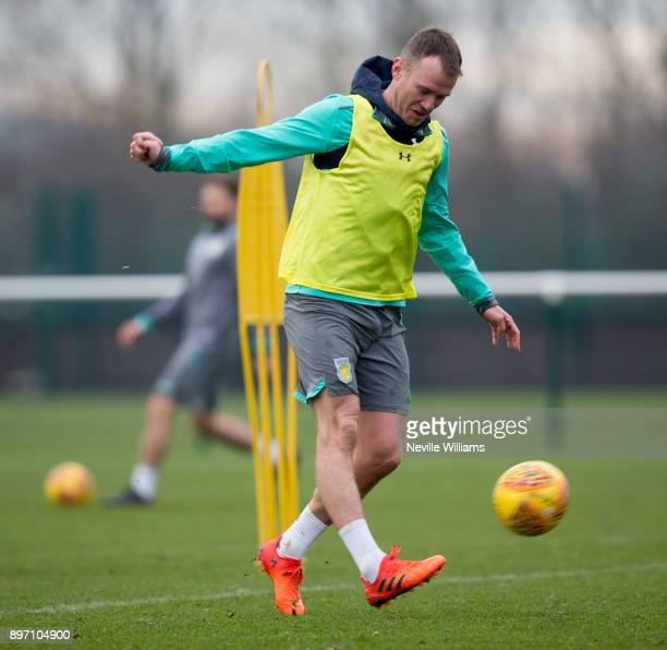 Glenn Whelan of Aston Villa in action during a training session at the club's training ground at Bodymoor Heath on December 22 2017 in Birmingham...