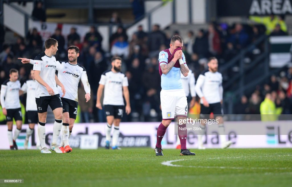 Glenn Whelan of Aston Villa reacts after Derby's opening goal during the Sky Bet Championship match between Derby County and Aston Villa at iPro Stadium on December 16, 2017 in Derby, England.