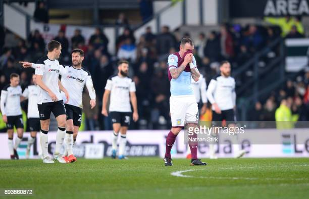Glenn Whelan of Aston Villa reacts after Derby's opening goal during the Sky Bet Championship match between Derby County and Aston Villa at iPro...