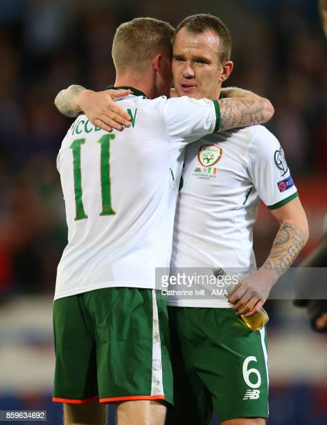 Glenn Whelan of Republic of Ireland hugs James McClean of Republic of Ireland during the FIFA 2018 World Cup Qualifier between Wales and Republic of...