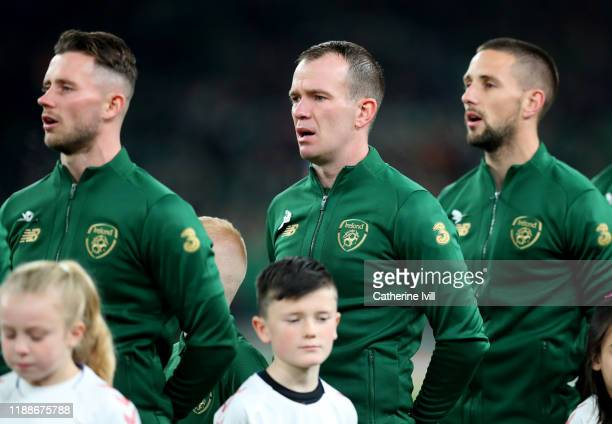 Glenn Whelan of Republic of Ireland in the line up ahead of the UEFA Euro 2020 qualifier between Republic of Ireland and Denmark so at Dublin Arena...