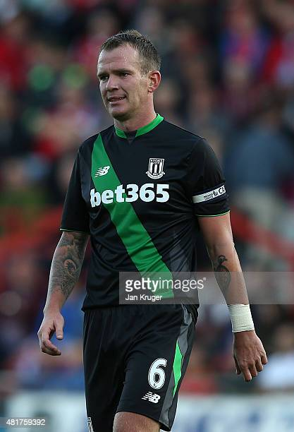 Glenn Whelan of Stoke City during the pre season friendly match between Wrexham and Stoke City at Racecourse Ground on July 22 2015 in Wrexham Wales