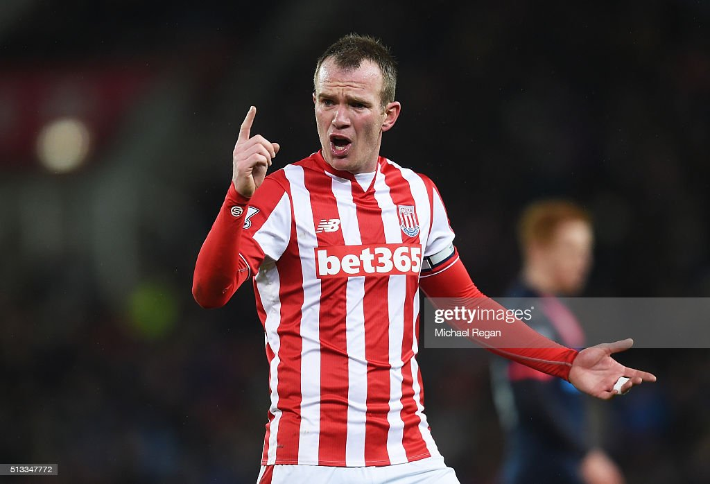 Glenn Whelan of Stoke City gestures during the Barclays Premier League match between Stoke City and Newcastle United at the Britannia Stadium on March 2, 2016 in Stoke on Trent, England.