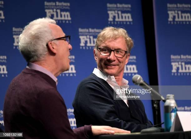 Glenn Whipp and Jim Burke speak onstage at the Producers Panel during the 34th Santa Barbara International Film Festival at Lobero Theatre on...