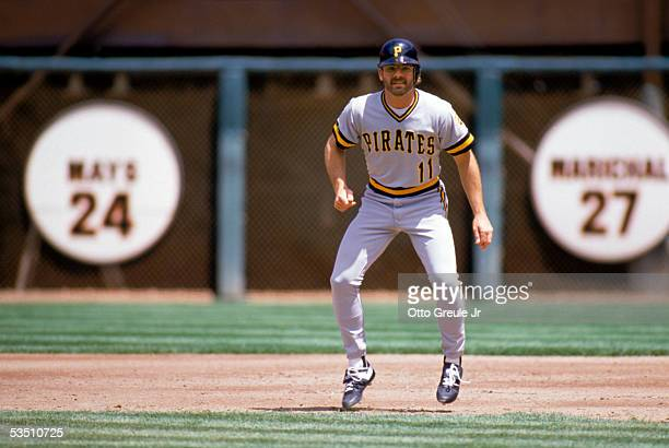 Glenn Wilson of the Pittsburgh Pirates focuses on home plate as he readies to run on contact during a game against the San Francisco Giants in the...