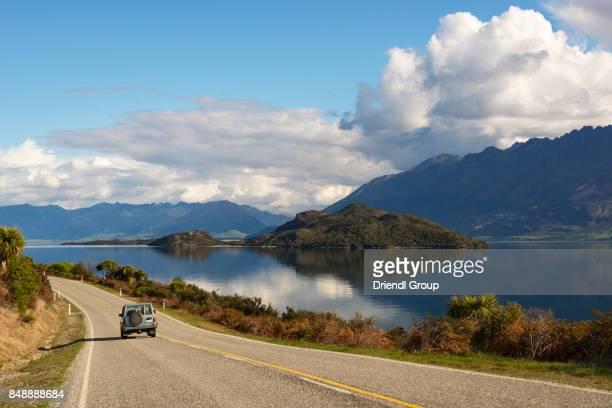 Glenorchy-Queenstown road along Lake Wakatipu.