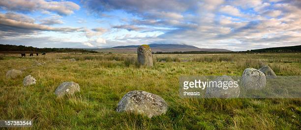 glenquicken stone circle panorama - theasis stock pictures, royalty-free photos & images