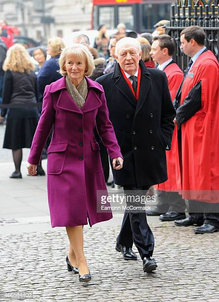 Glenys Kinnock and Neil Kinnock attend a Memorial Service for Sir Richard Attenborough at Westminster Abbey on March 17 2015 in London England