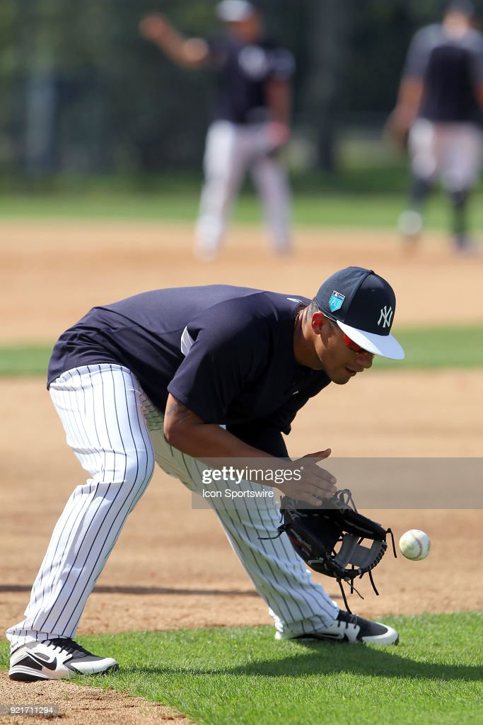 Gleyber Torres (81) fields a ground ball during the New York Yankees spring training workout on February 20, 2018, at George M. Steinbrenner Field in Tampa, FL.