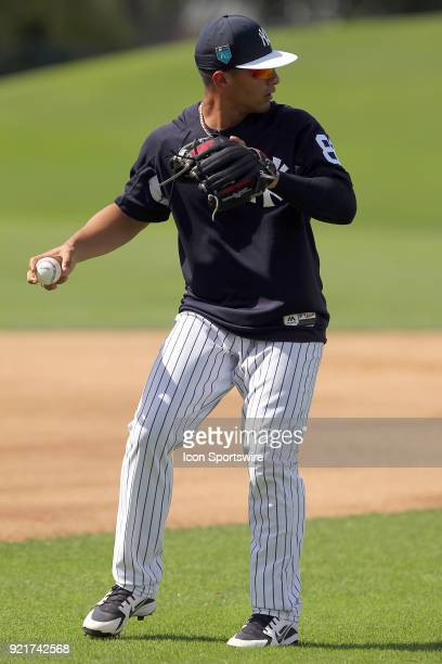 Gleyber Torres goes thru infield drills during the New York Yankees spring training workout on February 20 at George M Steinbrenner Field in Tampa FL