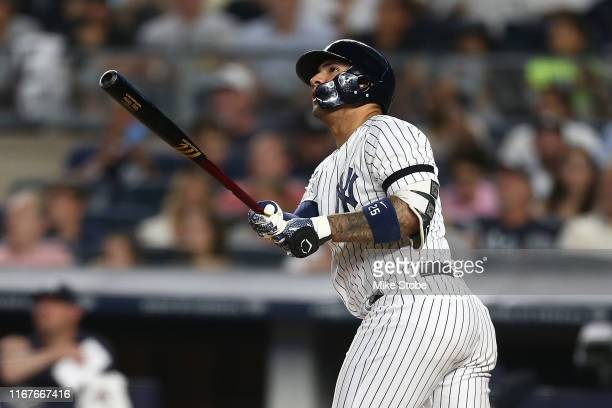 Gleyber Torres of the New York Yankees hits a 3run home run to center field in the fifth inning against the Baltimore Orioles at Yankee Stadium on...