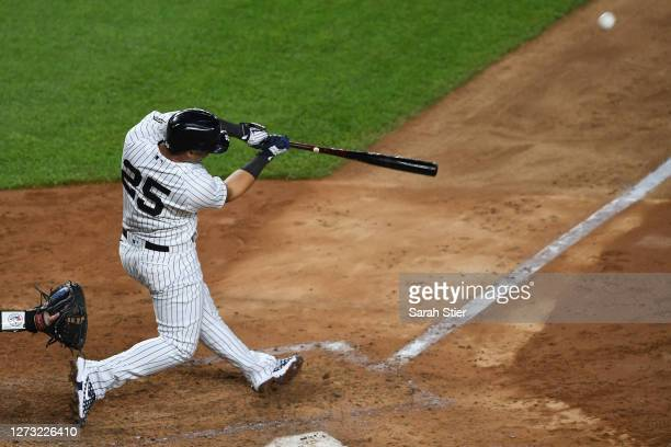 Gleyber Torres of the New York Yankees hits a home run during the fourth inning against the Toronto Blue Jays at Yankee Stadium on September 17, 2020...