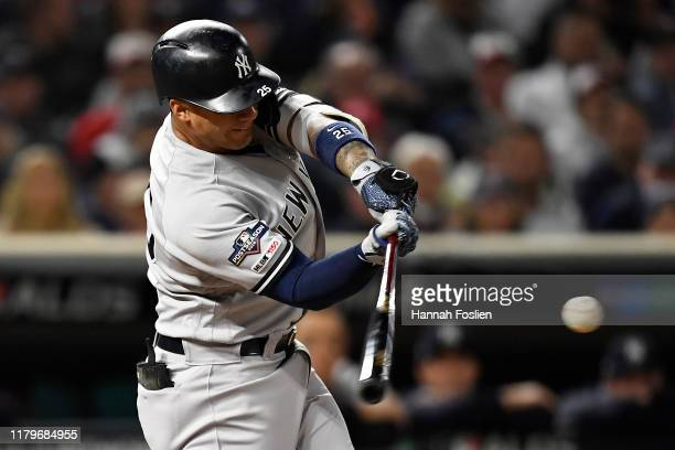 Gleyber Torres of the New York Yankees hits a solo home run off Jake Odorizzi of the Minnesota Twins in the second inning in game three of the...