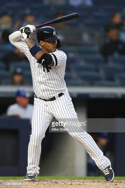 Gleyber Torres of the New York Yankees in action against the Kansas City Royals at Yankee Stadium on April 19, 2019 in New York City. New York...