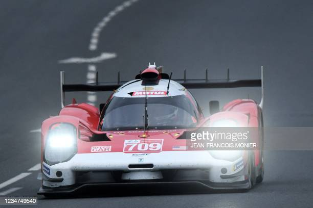 Glickenhauss 007 LMH Hypercar WEC's French driver Romain Dumas takes part the first practice session in Le Mans, northwestern France, on August 18,...