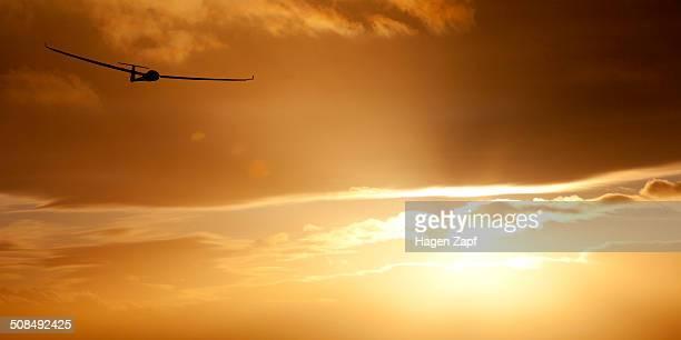 Glider at sunset
