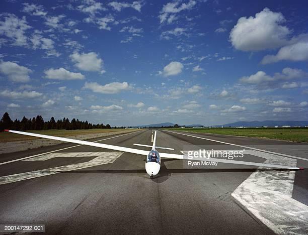 Glider on runway