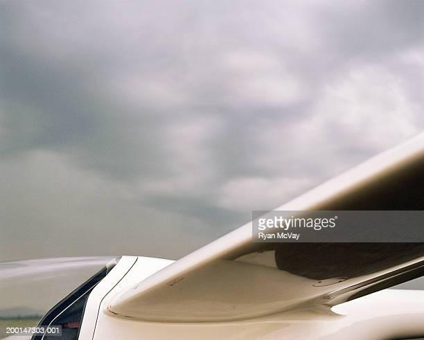 Segelflugzeug, Seitenansicht, Nahaufnahme der Flügel und die cockpit gegen