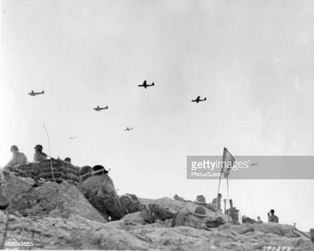 Gliders bring in supplies to American Army troops fighting on Utah Beach les Dunes de Madeleine France June 6 1944