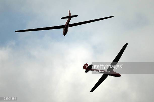 Gliders manouvre before landing at the Yorkshire Gliding Club which lies on a plateau in the North Yorkshire Moors National Park on September 1 2011...