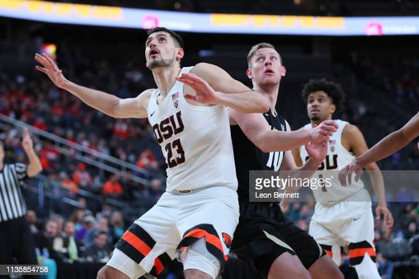 Gligorije Rakocevic of the Oregon State Beavers battling for position against Alexander Strating of the Colorado Buffaloes during a quarterfinal game...
