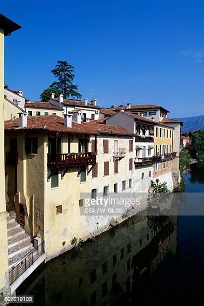 Glimpse of Bassano del Grappa on the Brenta river, Veneto, Italy.