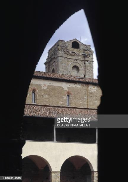 Glimpse of bell tower, basilica of San Miniato al Monte , Florence , Tuscany, Italy.