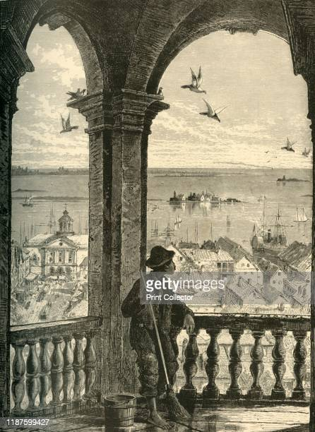 A Glimpse of Charleston and Bay from St Michael's Church' 1872 View of the town of Charleston and the Atlantic Ocean South Carolina USA The church of...