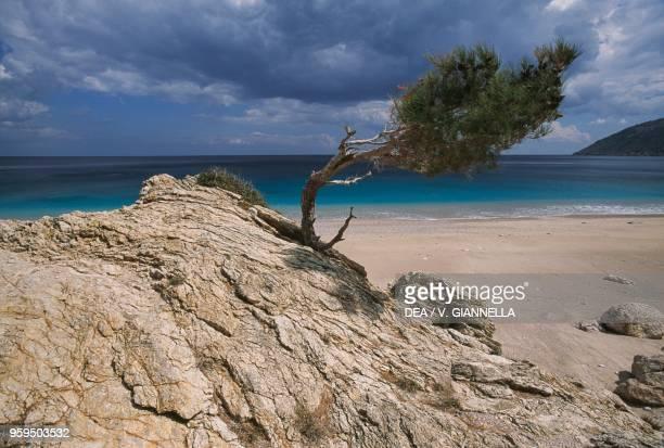 Glimpse of Kira Panagia beach Karpathos Island Greece